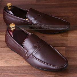 Giày lười nam da trơn đai ngang màu nâu GNTA003-N