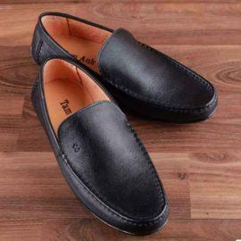 Giày lười nam viền chỉ đen GNTA2888-D