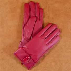 Găng tay nữ đai da đính khuy bấm màu đỏ GT600-04L-DO