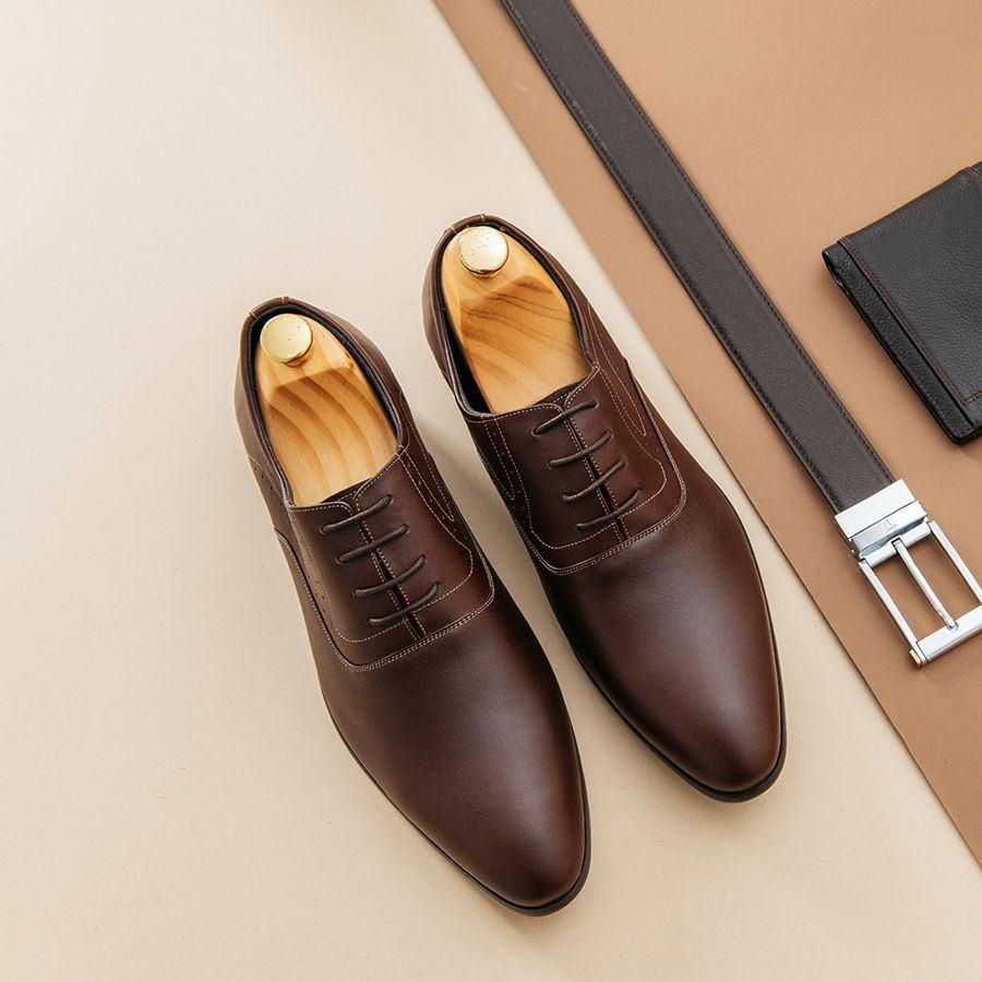 Giày tây nam công sở buộc dây màu nâu