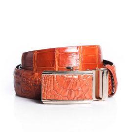 Thắt lưng nam da cá sấu màu nâu đỏ DTA990-CLDB-NDO