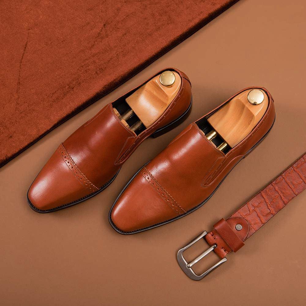 Giày lười nam màu nâu GNTA1908-N