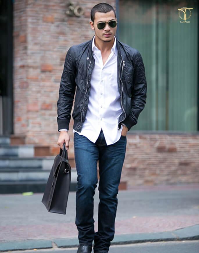 Áo da nam với áo sơ mi