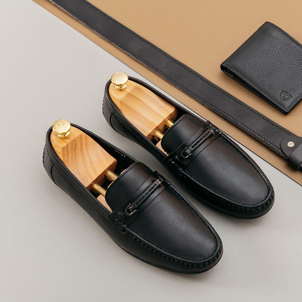 Giày da nam đế cao su xẻ rãnh chống trơn GNTA191-D