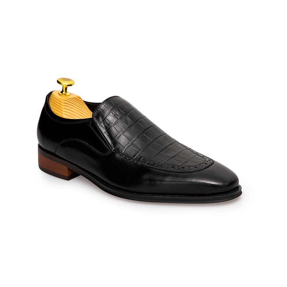 Giày lười nam da bò dập vân da cá sấu GNTA688-8-D