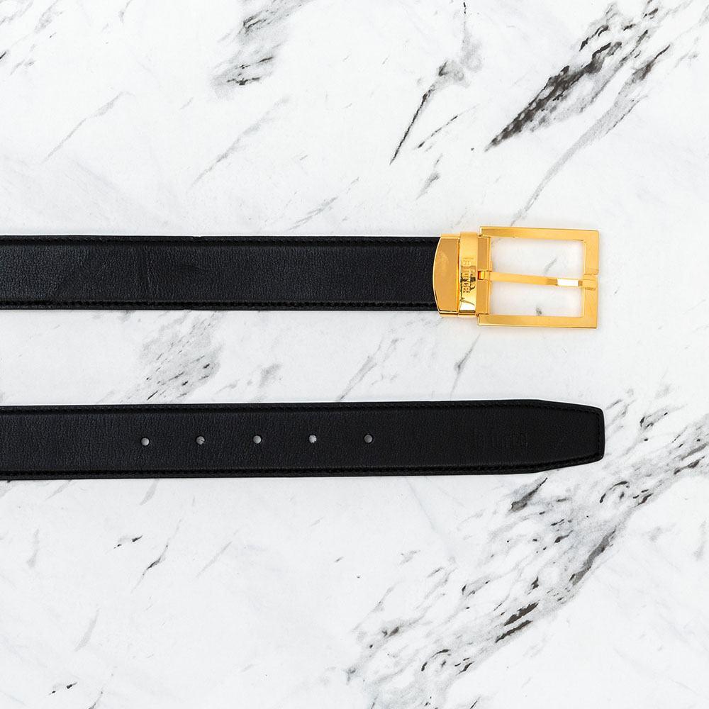 Dây lưng da bò khóa vuông mặt vàng D590-625V