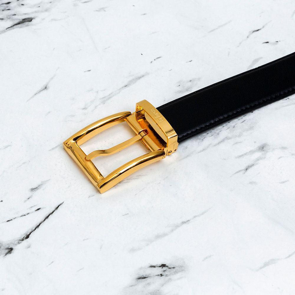 Thắt lưng da bò khóa xỏ kim mặt vàng xịn D590-0180708V