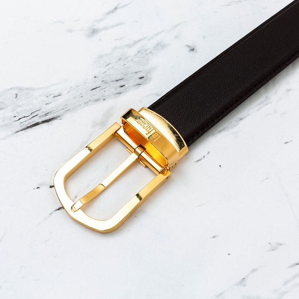Thắt lưng da bò mặt khóa xiên màu vàng D590-725V