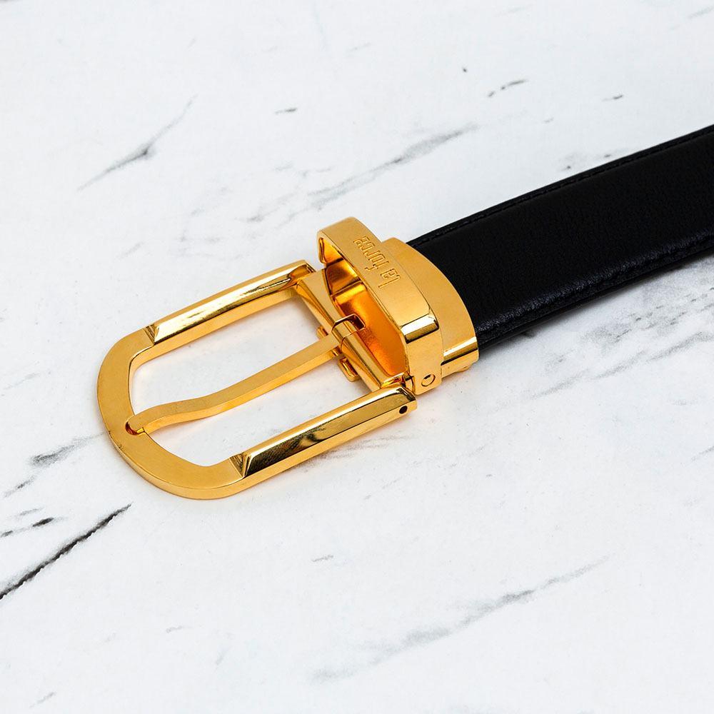 Thắt lưng nam da bò mặt khóa vàng hình tam giác D590-724V