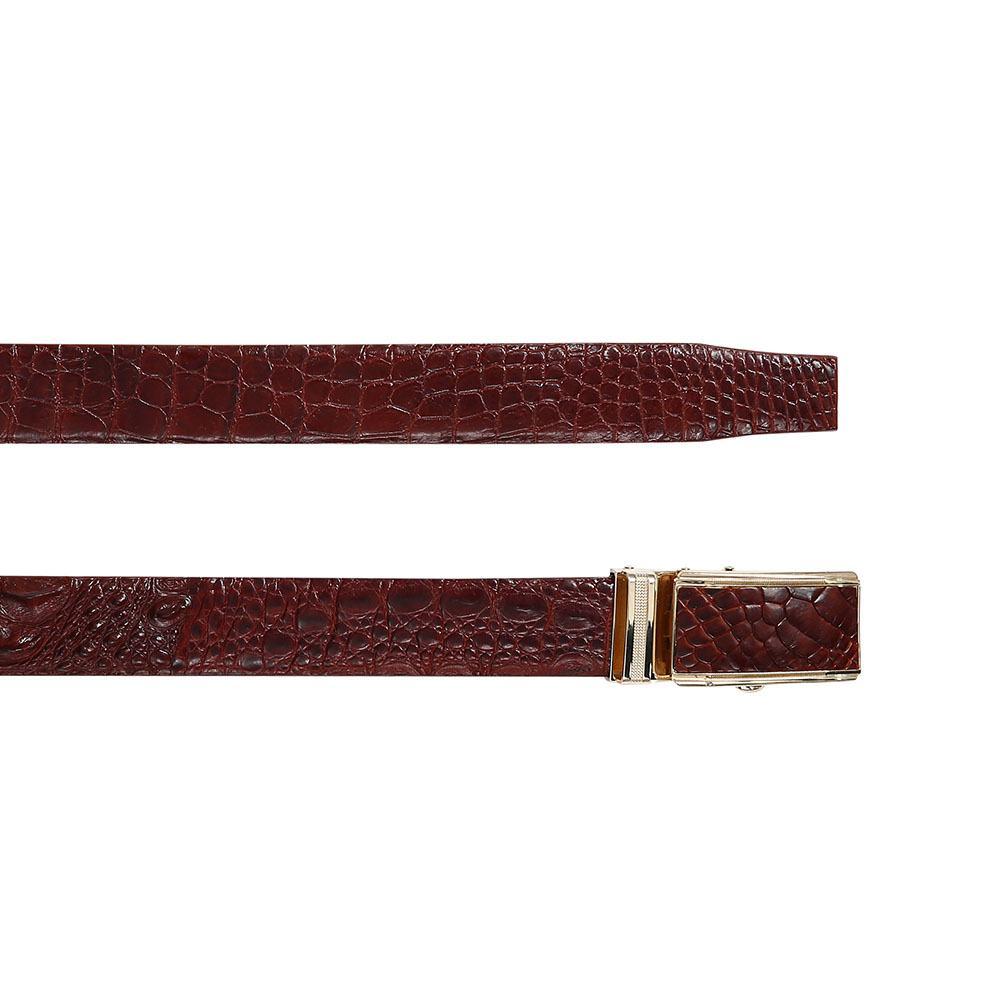 Thắt lưng cá sấu nâu đỏ sang trọng DTA990-02V-H-ND