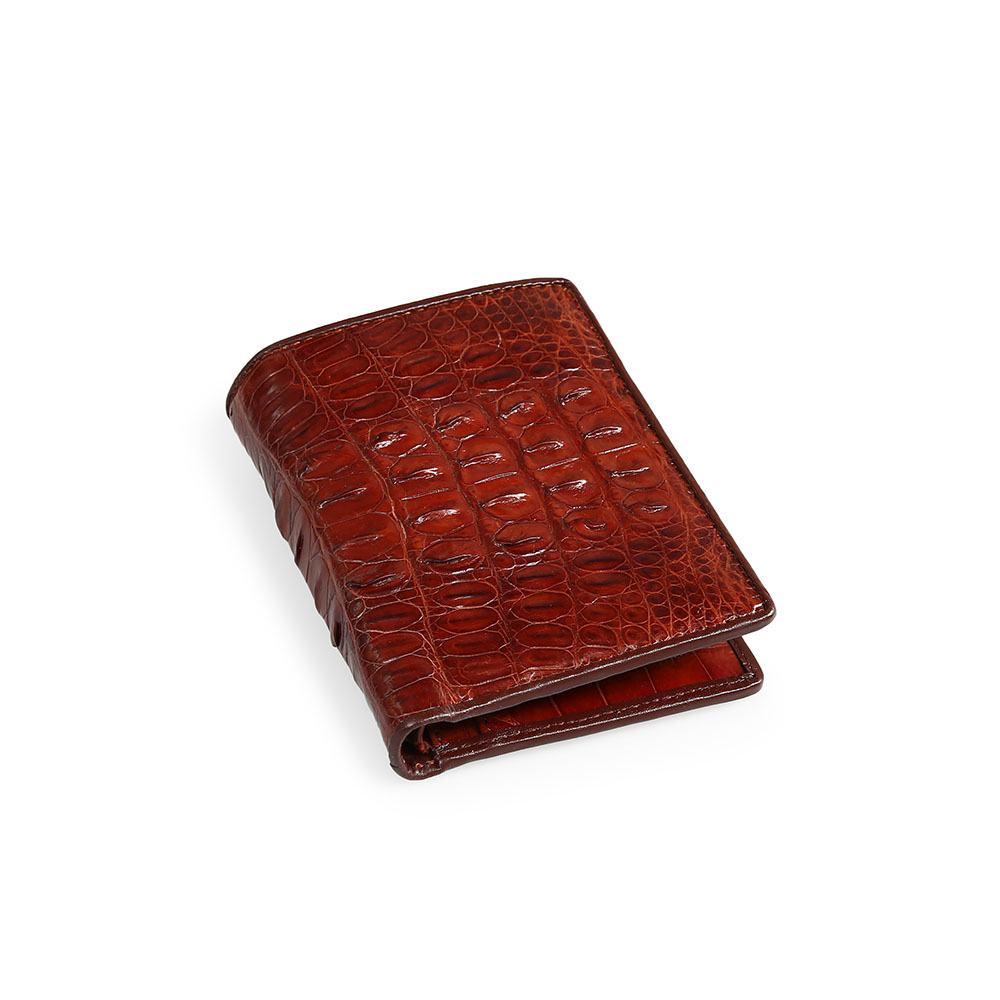 Ví da cá sấu thật màu nâu đỏ sinh tài lộc VTA1350D-L-ND