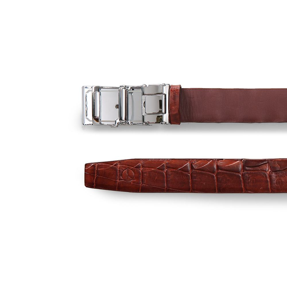 Thắt lưng da cá sấu dây liền mặt khóa lăn DTA1400-03B-G-ND