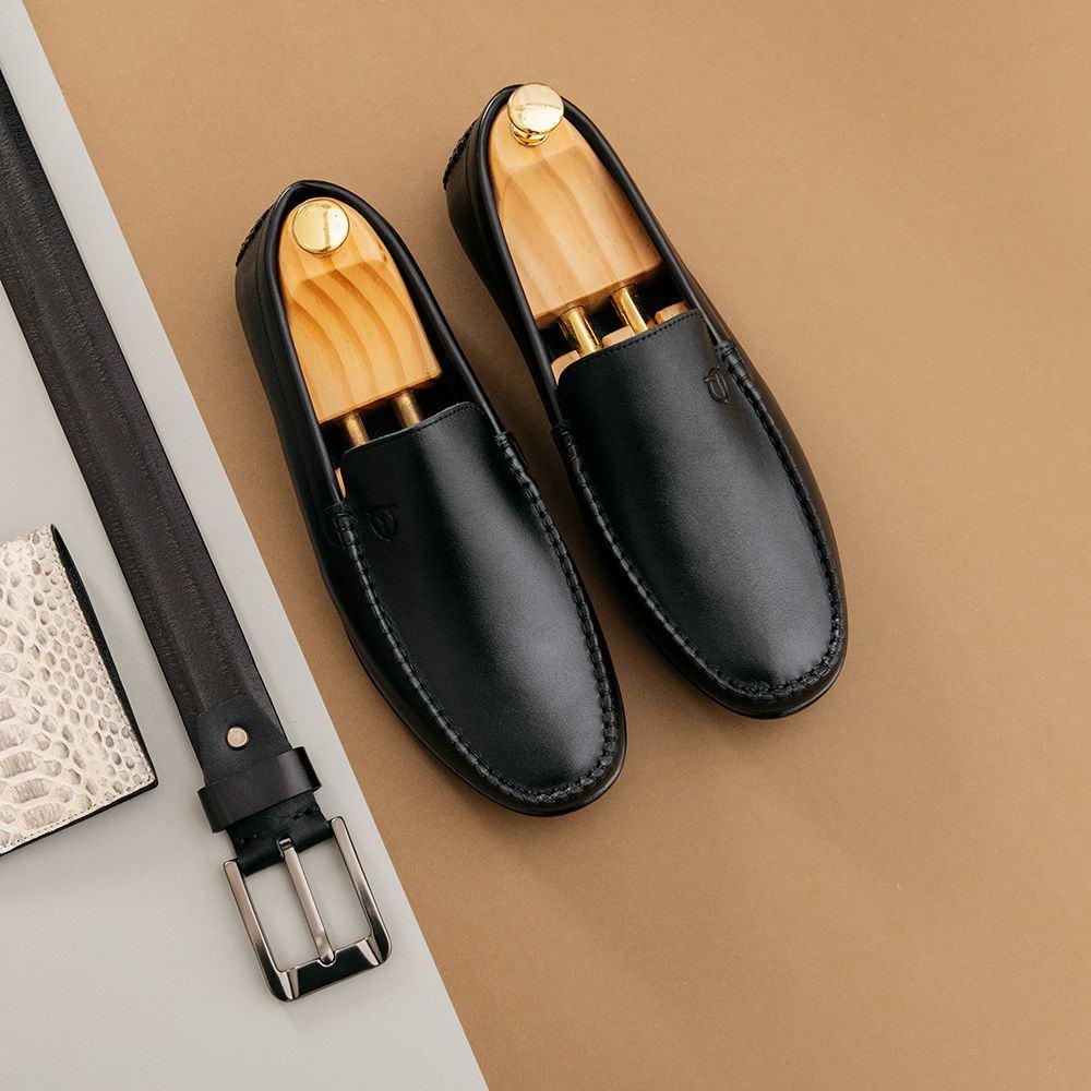 Giày lười nam màu đen basic GNTA54.3-D