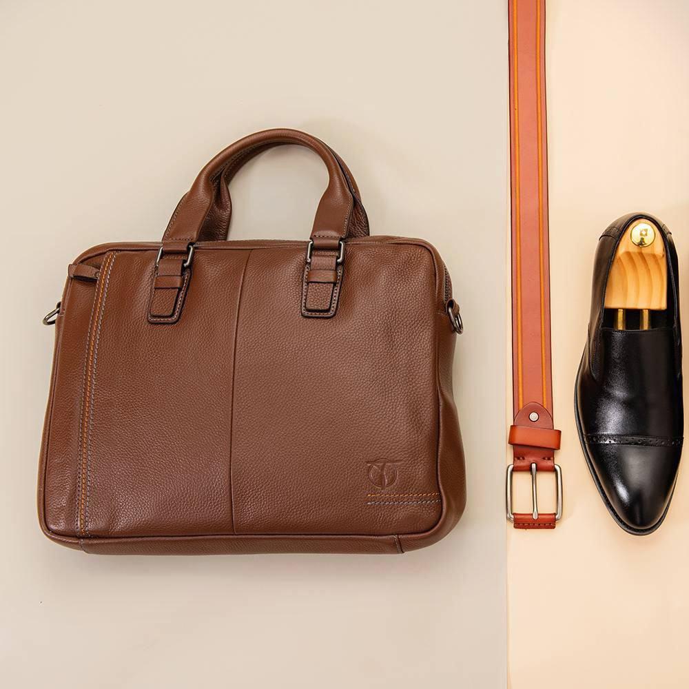 Túi da nam dáng basic màu nâu TTA354-N