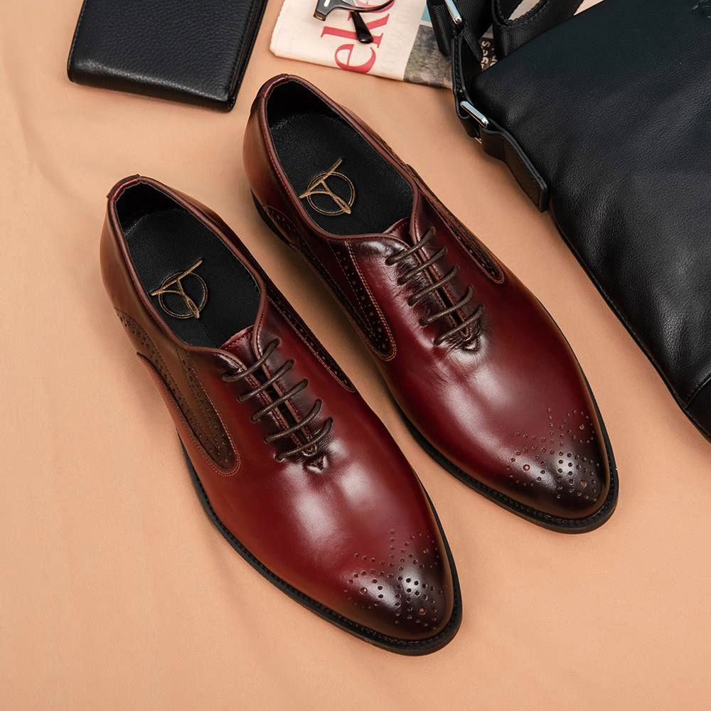 Giày da đục lỗ màu nâu đỏ GNTA016-NDO