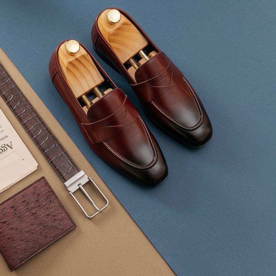 Giày lười nam basic màu nâu GNTA55.2-N