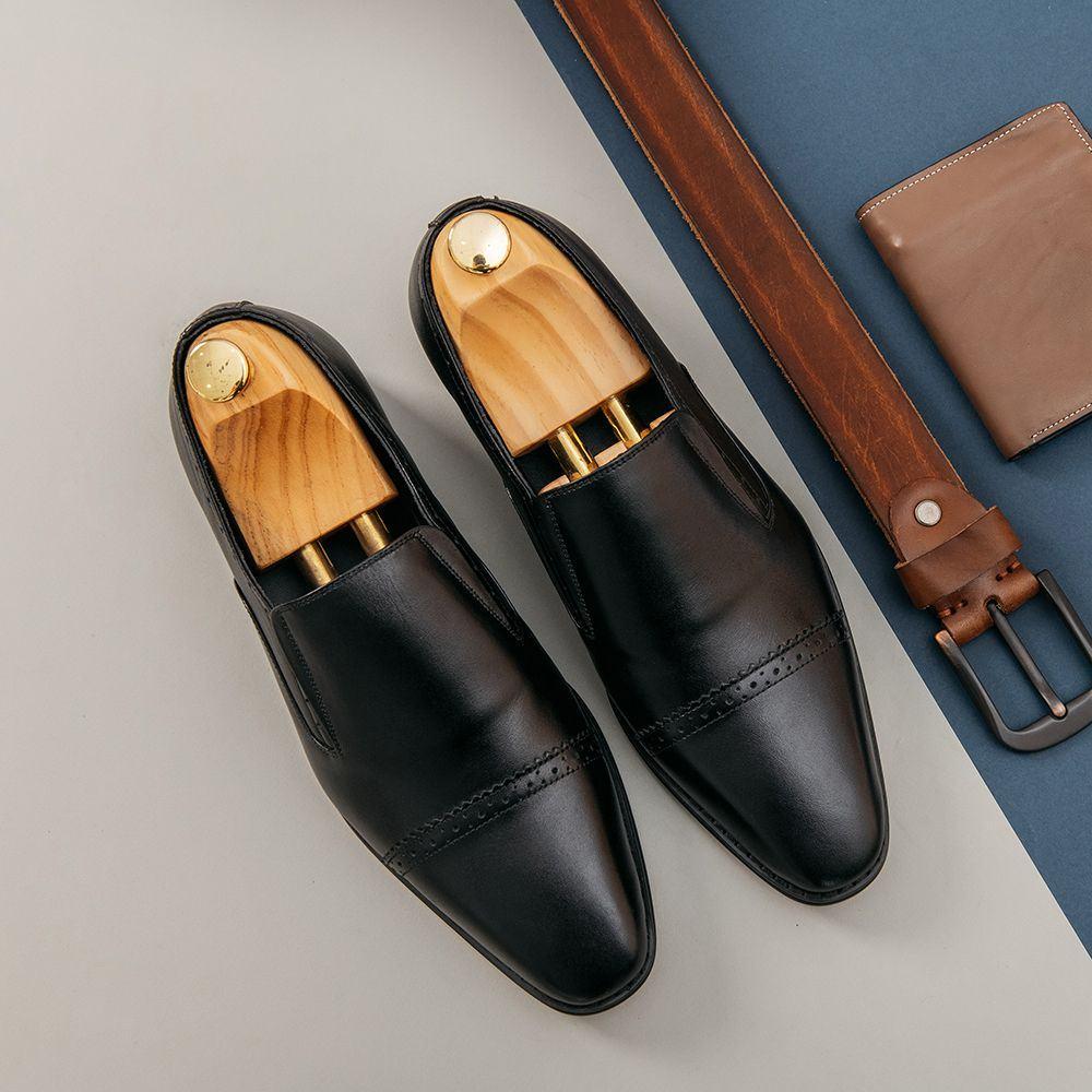 Giày lười nam họa tiết đục lỗ ngang mũi GNTA56.1-D