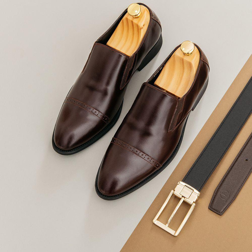 Giày lười nam màu nâu GNTA56.1-NDA