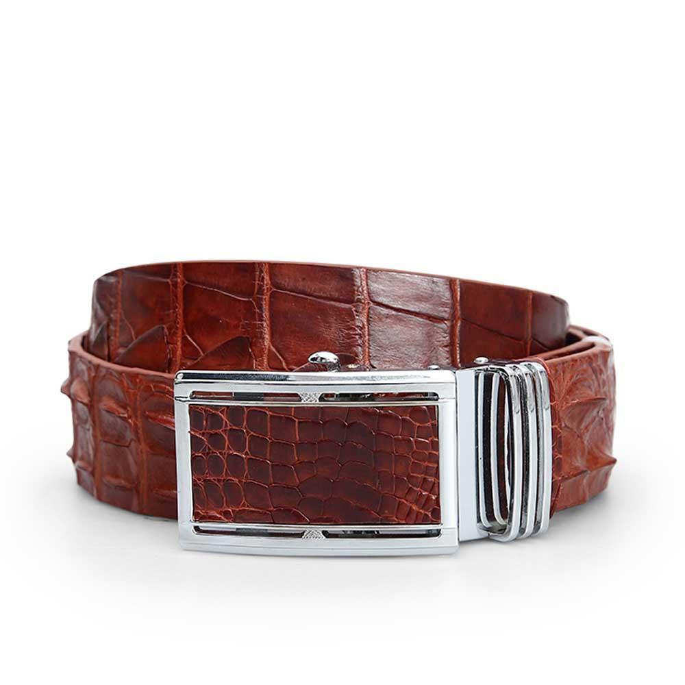 Thắt lưng cá sấu dây liền màu nâu đỏ DTA1600-06-LD-ND