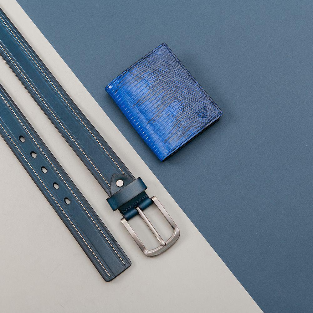 Ví da kỳ đà dáng đứng màu xanh coban VTA930D-XCB
