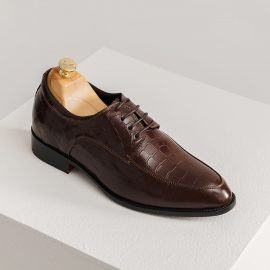 Giày nam tăng chiều cao da bò giả vân da cá sấu GCTATC1563-N