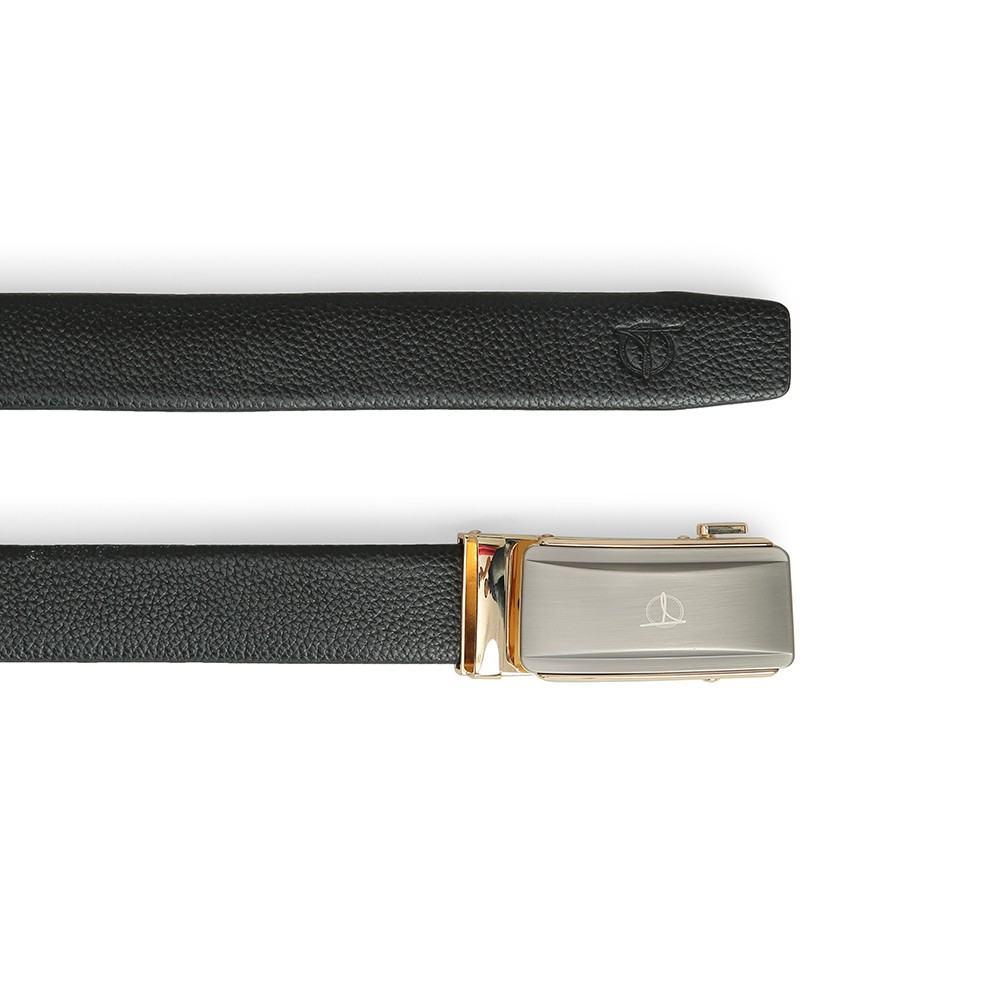 Thắt lưng da bò khóa lăn mặt bạc D390-201962