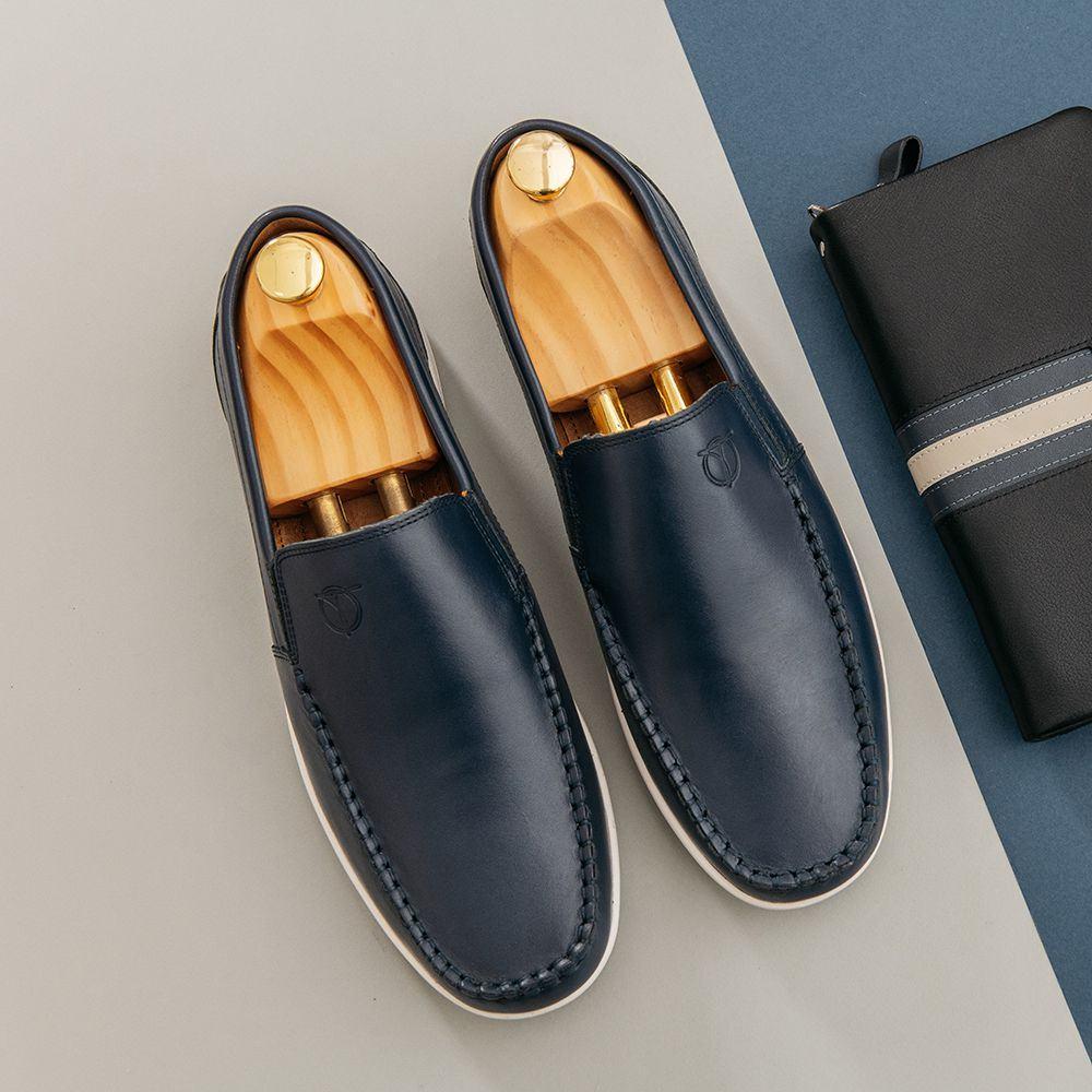 Giày lười nam da bò mũi tròn GNTA190904-X