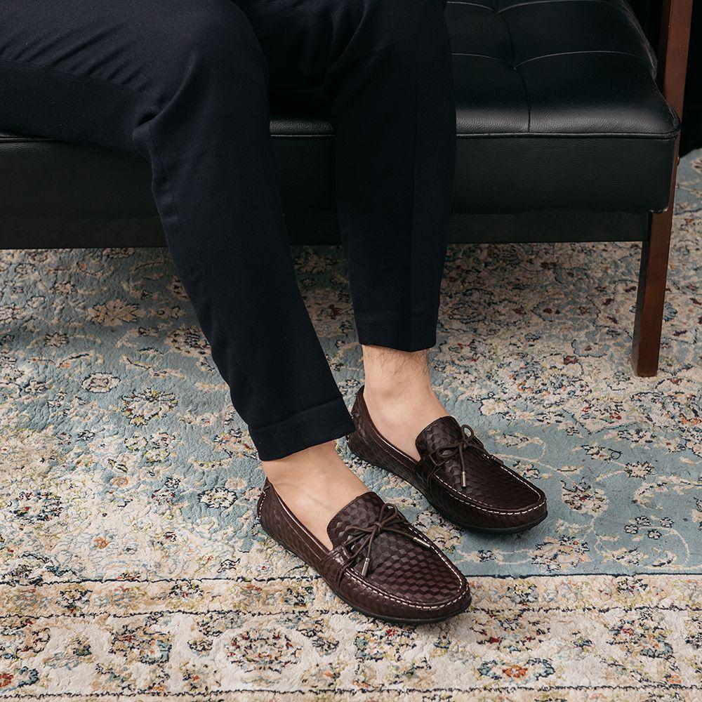 Giày lười nam thắt dây quai ngang cách điệu GNTA190903-N