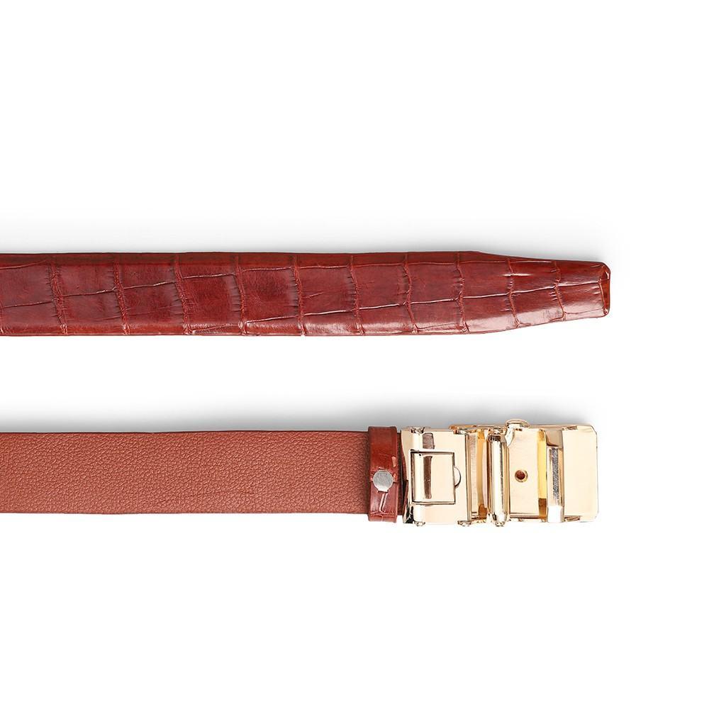 Thắt lưng cá sấu chân bụng màu nâu đỏ DTA1390-02V-T-ND