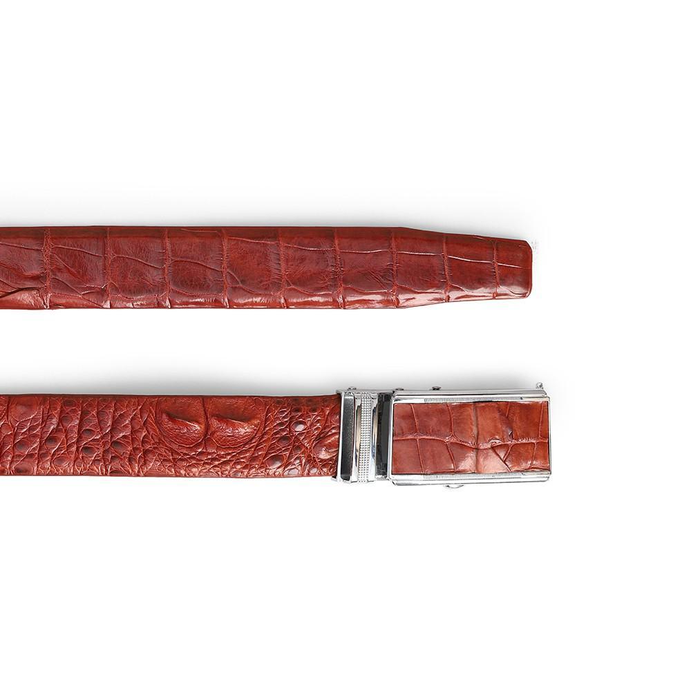 Thắt lưng nam da cá sấu màu nâu đỏ DTA1390-02V-G-ND