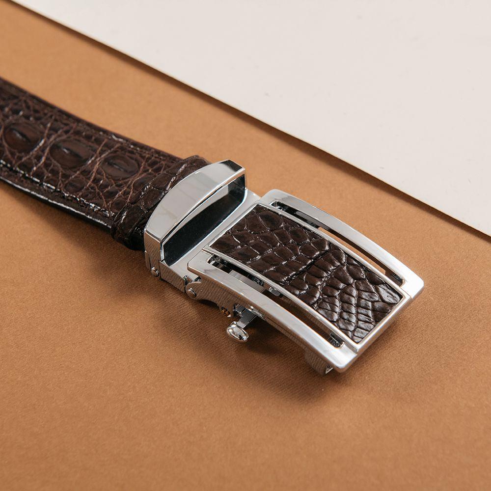 Thắt lưng nam chân bụng cá sấu màu cafe DTA1300-05B-B-CF