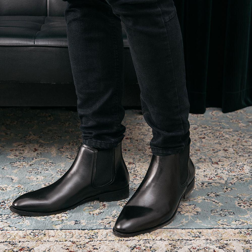 Giày nam Chelsea Boot da bò trơn GNTA6801-D