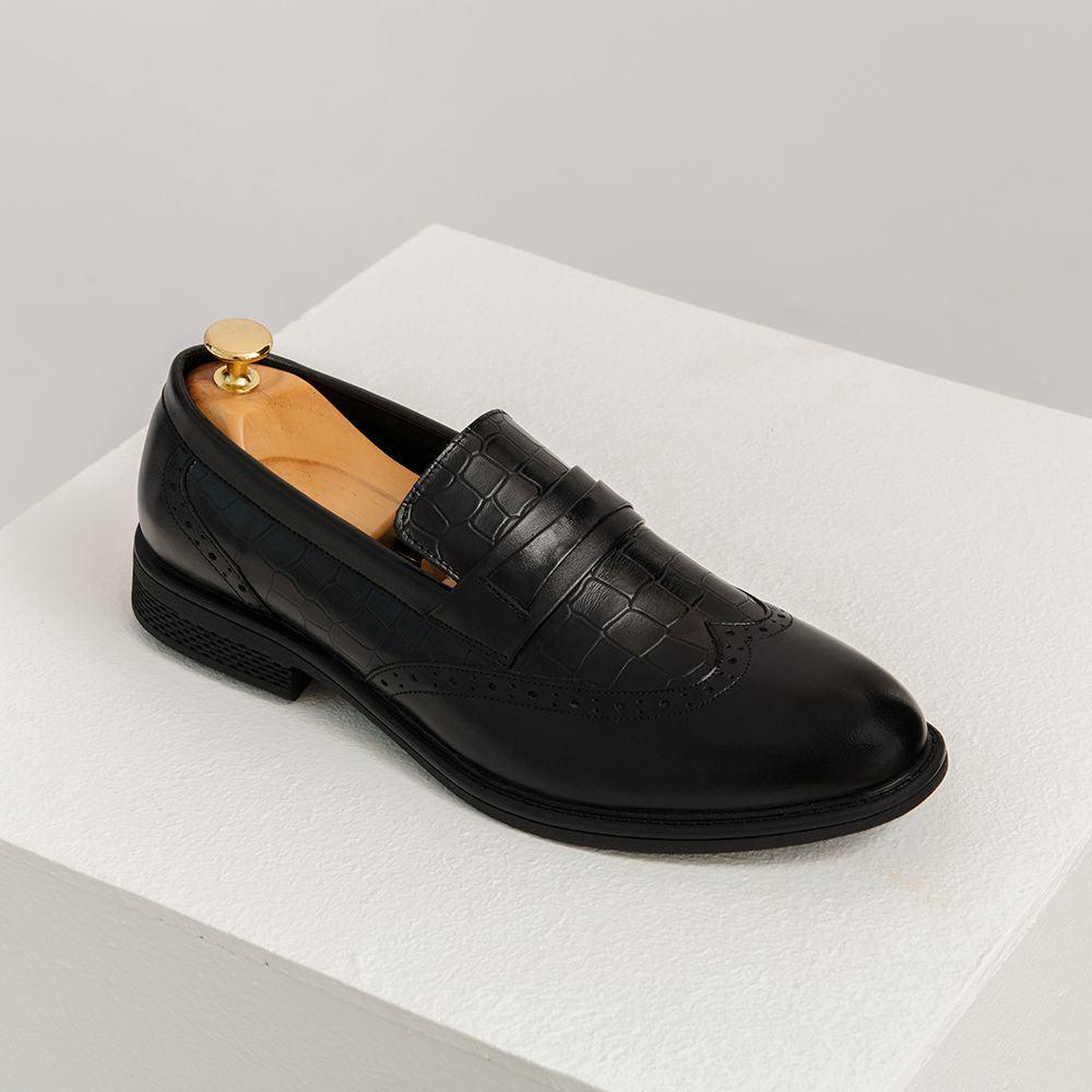 Giày lười nam da bò dập vân nam tính GNTA1105-D