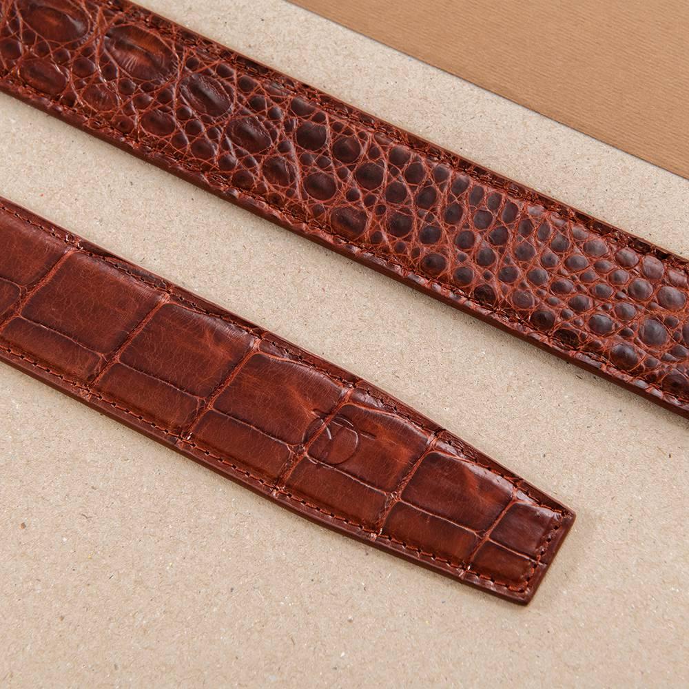Dây nịt da cá sấu liền bản 3.5 cm DTA1400-07V-T-ND