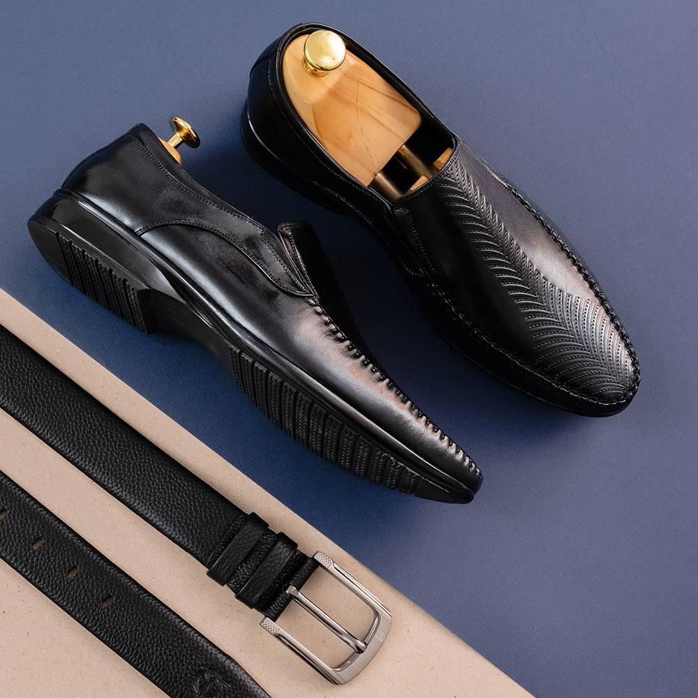 Giày Da Nam Màu Đen Lịch Lãm GNTA0555-D