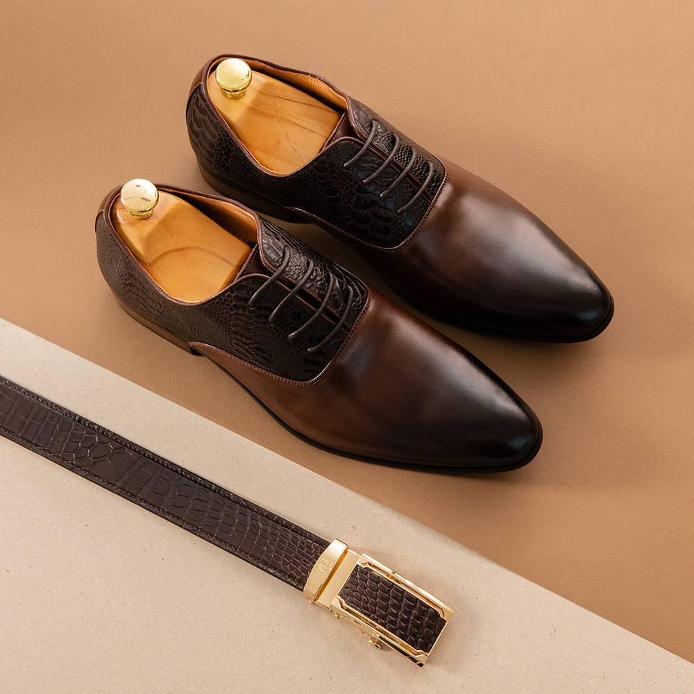 Giày tây nam trẻ trung vân da GNTA06825-CF