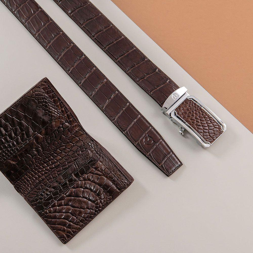 Thắt lưng da bụng cá sấu nối bản 4 cm DTA1300-08B-B-CF