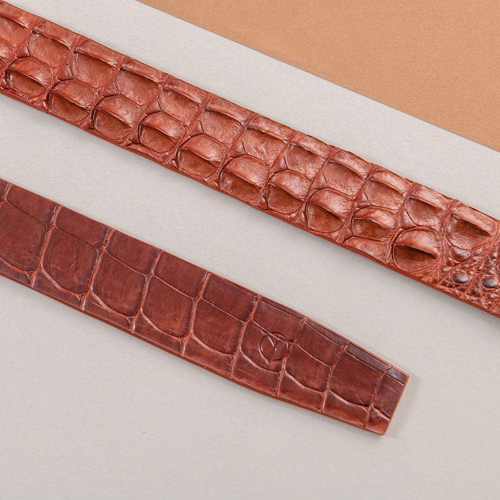 Thắt lưng gù cá sấu màu nâu đỏ DTA1600-08V-G-ND