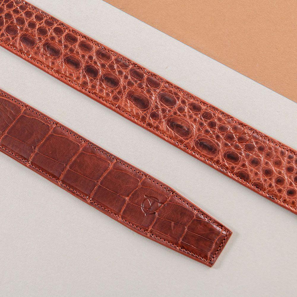Thắt lưng nam da cá sấu liền màu nâu đỏ DTA1600-08B-T-ND