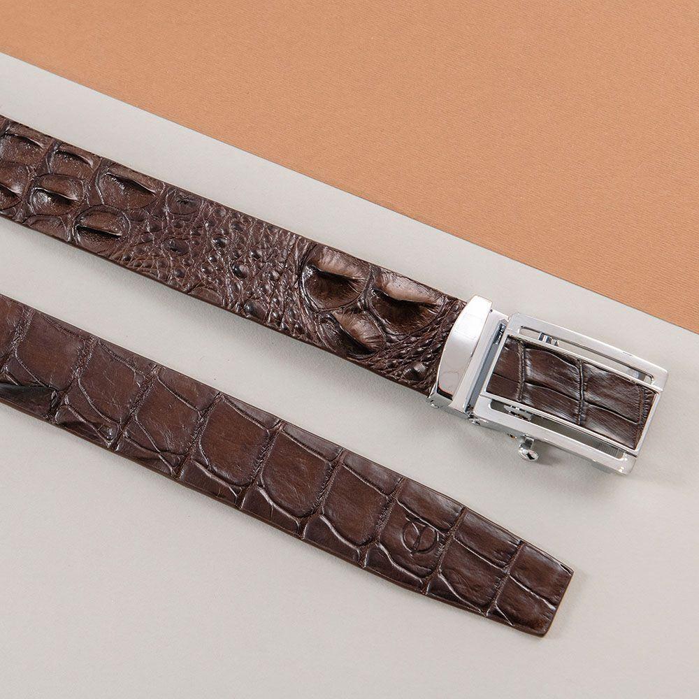 Thắt lưng nam gù cá sấu màu cafe DTA1600-05B-G-CF