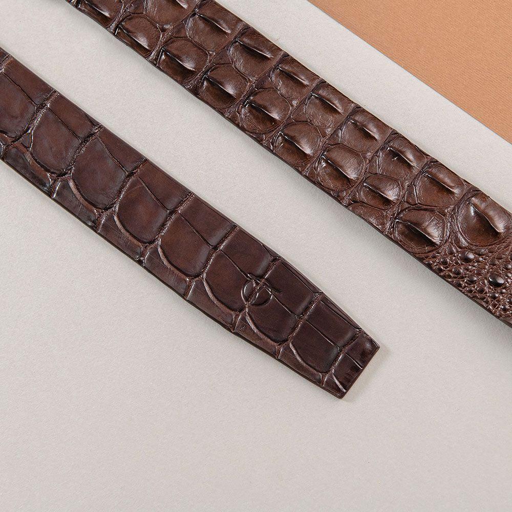 Thắt lưng nam gù cá sấu màu cafe DTA1600-08V-G-CF