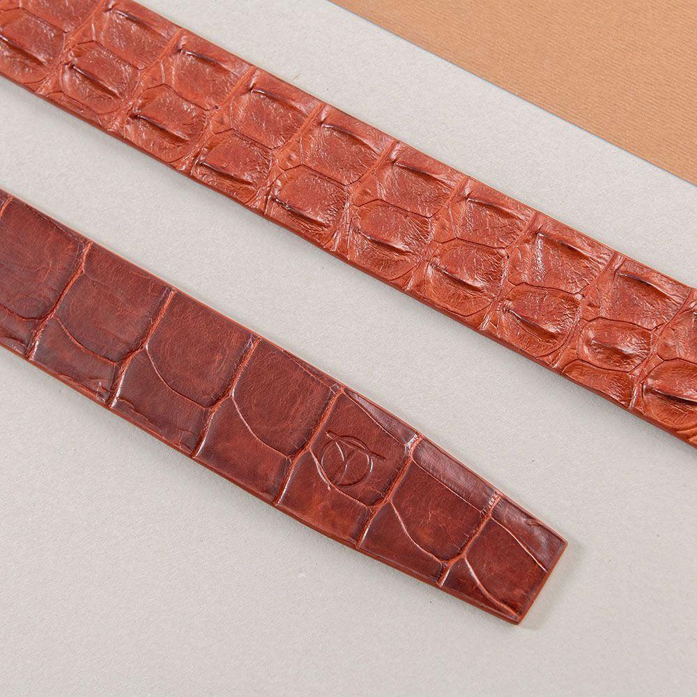 Thắt lưng nam cá sấu liền bản 3.5 cm DTA1400-07V-G-ND