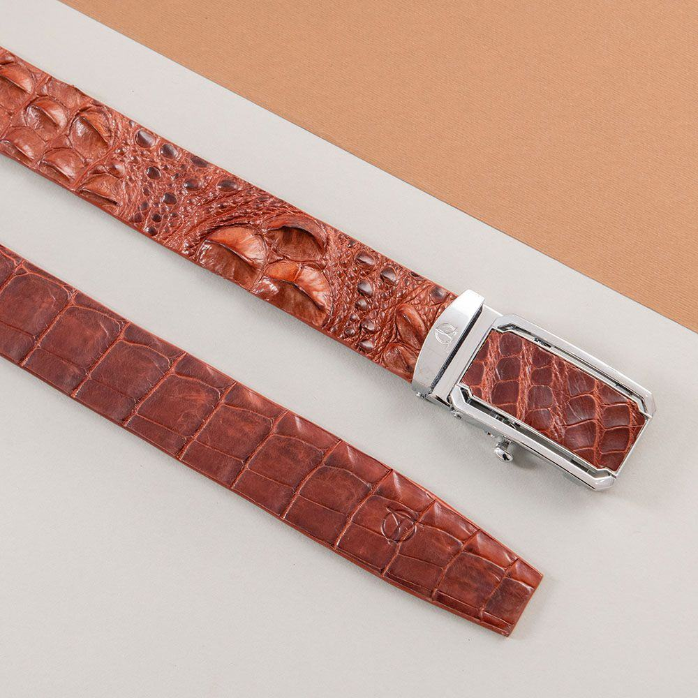 Thắt lưng nam gù cá sấu liền bản 4 cm DTA1600-08B-G-ND