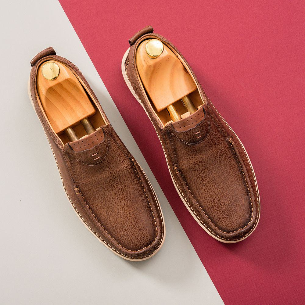 Giày lười nam màu nâu GNTA686-N