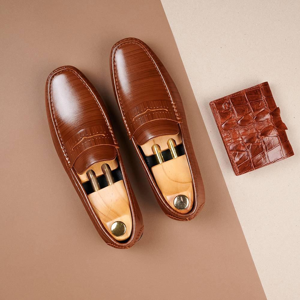 Giày lười nam vân da GNTA6900-N