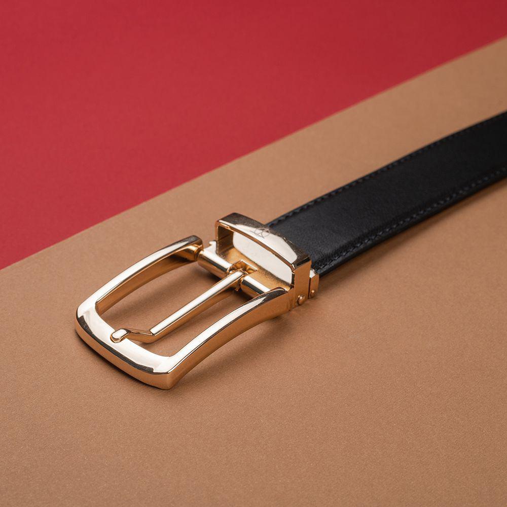 Thắt lưng nam da bò mặt khóa vàng D480-1320-RF