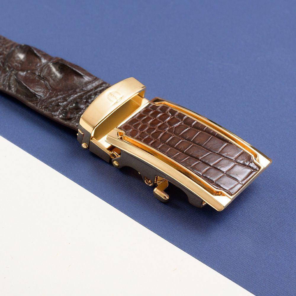 Thắt lưng da cá sấu liền miếng màu cafe DTA1400-07V-G-CF