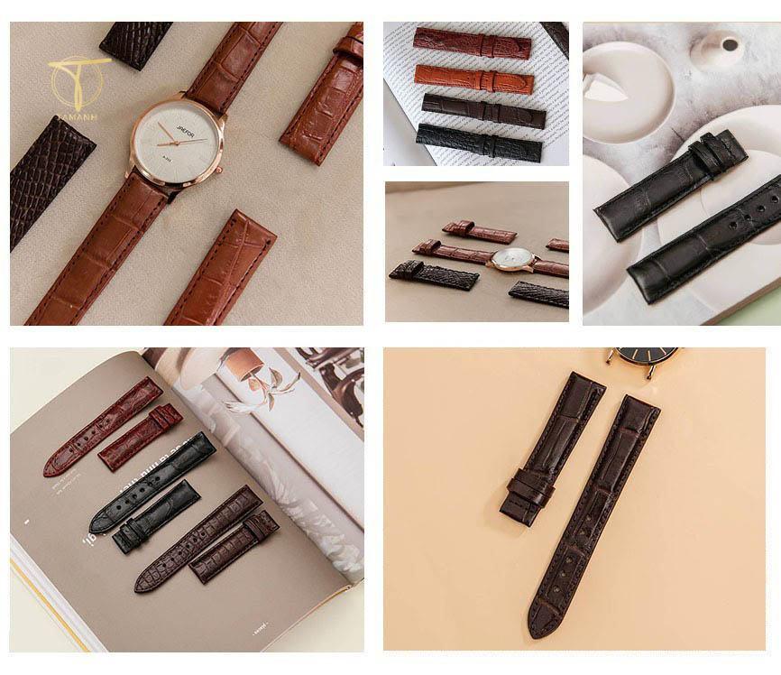 Một số mẫu dây đồng hồ được làm từ chất liệu da cá sấu tại Tâm Anh