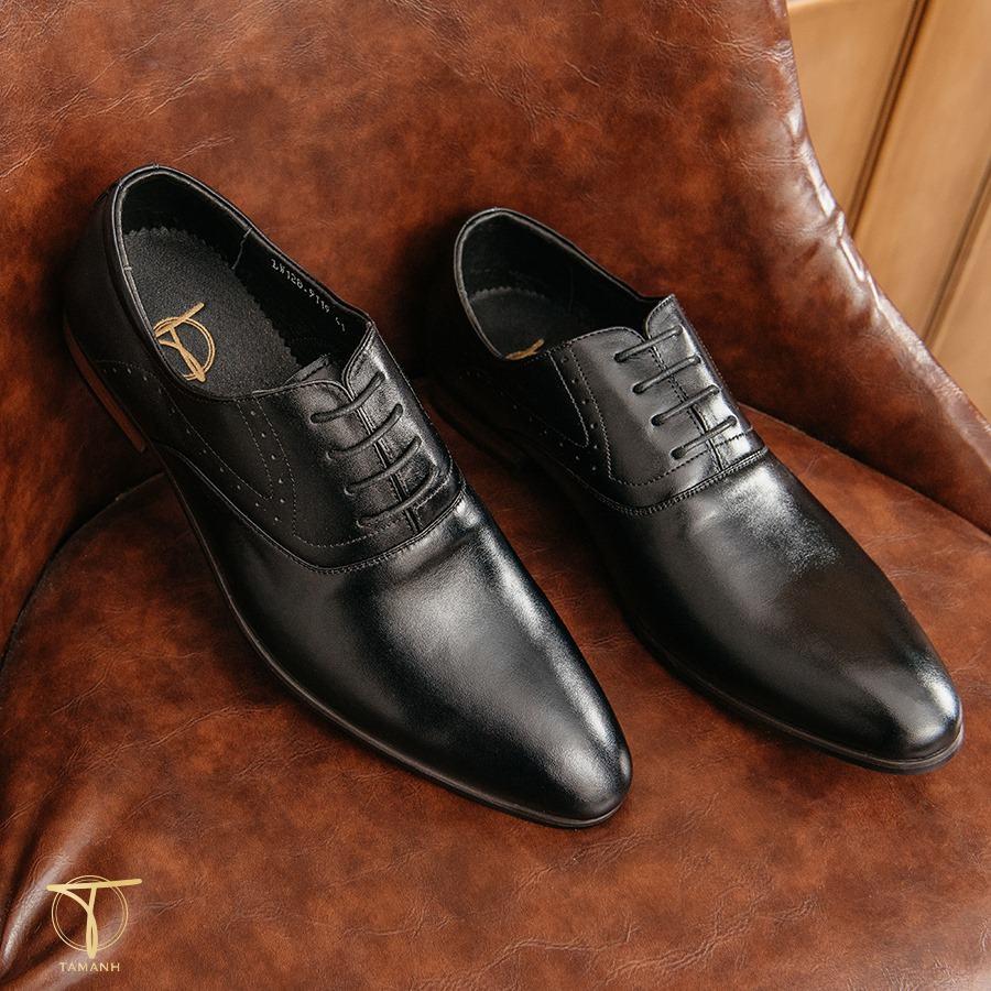 Giày da nam kiểu dáng Oxford đen