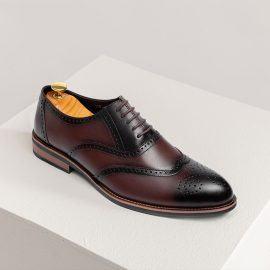 Giày da nam hàng hiệu đục lỗ màu cafe GNTA2692-CF